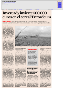 Inveready invierte 500.000 euros en el cereal Tritordeum