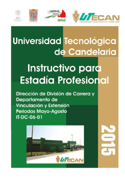 Universidad Tecnológica de Candelaria Instructivo para Estadía