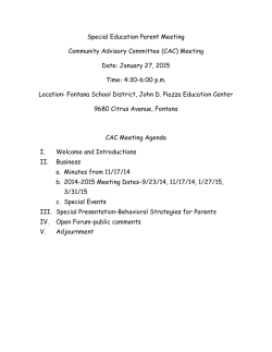 (CAC) Meeting Date: January 27, 2015 Time: 4:30