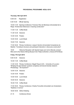 PROVISIONAL PROGRAMME- AESLA 2015 Thursday 16th April