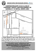 temporary traffic lane realignment on ramona st. to install sewer lines