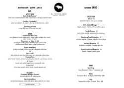 RESTAuRANT WEEK LuNCh WINTER 2015