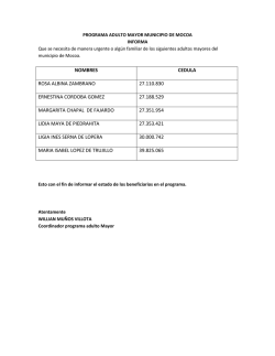 Descargar El Programa Adulto Mayor del Municipio de Mocoa