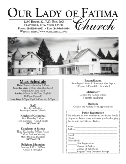 Mass Schedule - John Patrick Publishing Company