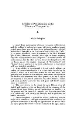 Criteria of Periodization in the History of European Art