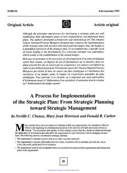 A Process for Implementation of the Strategic Plan