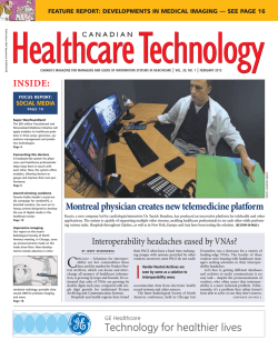 Current Issue - Canadian Healthcare Technology