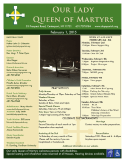 Current Bulletin - Our Lady Queen of Martyrs Parish