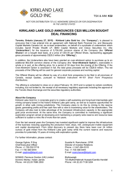 kirkland lake gold announces c$25 million bought deal