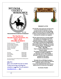 The Hay Burner Nevada County Horsemen, Inc. FEB 1, 2015