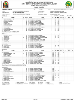 Media start list: Senegal VS Algeria