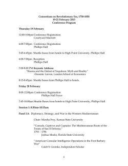 Conference Program - Consortium on the Revolutionary Era, 1750