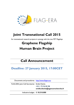 Joint Transnational Call 2015 Graphene Flagship Human Brain