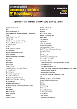 Companies that attended MassMin 2012, Sudbury