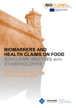 biomarkers and health claims on food bioclaims meeting with