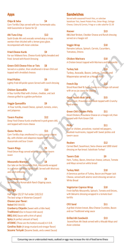 new menu - Waterton Tavern in Roxborough