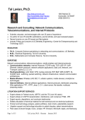 Resume - Dr. Tal Lavian, Network Communications Expert
