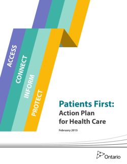 Patients First: Action Plan for Health Care