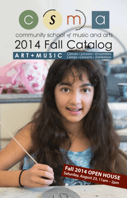 2014 Fall Catalog - Community School of Music and Arts
