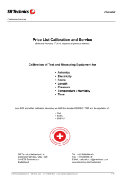 Price List Calibration and Service
