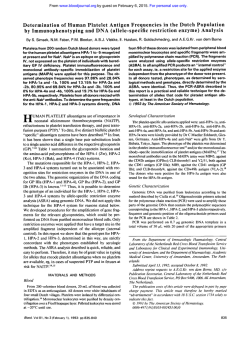 Determination of Human Platelet Antigen Frequencies in the