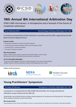 18th Annual IBA International Arbitration Day