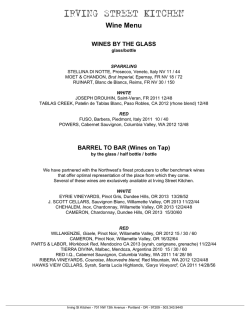 Wine Menu - Irving Street Kitchen
