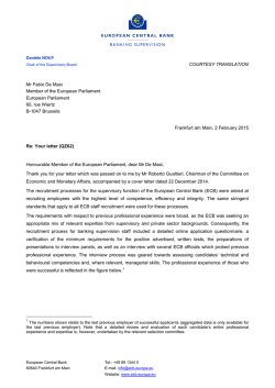 Letter from Danièle Nouy, Chair of the Supervisory Board, to Mr De