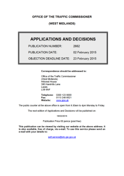 APPLICATIONS AND DECISIONS 2 February 2015