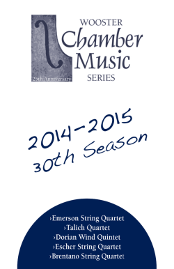 2014-15 Brochure - Wooster Chamber Music Series