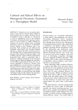 Cultural and Ethical Effects on Managerial Decisions