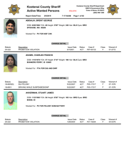 Kootenai County Sheriff Active Wanted Persons