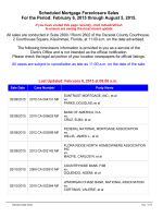 Scheduled Mortgage Foreclosure Sales For the Period: January 30