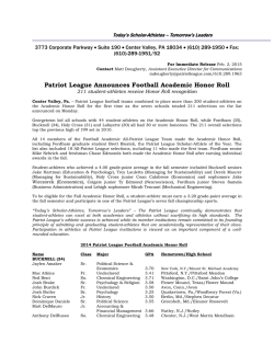 Patriot League Football Academic Honor Roll