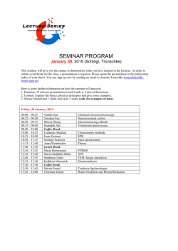 SEMINAR - Program now available