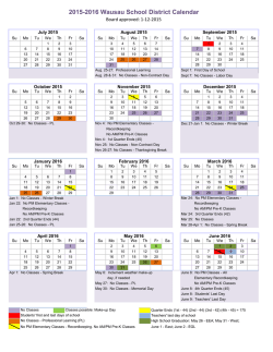 2015-16 School Calendar - Wausau School District