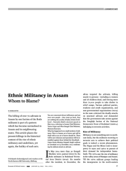 Ethnic Militancy in Assam - Economic and Political Weekly