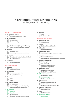 A Catholic Lifetime Reading Plan by Fr John Hardon SJ