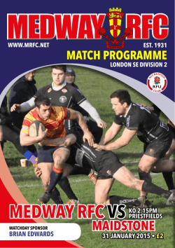 PrOGrAmme - Medway Rugby Football Club