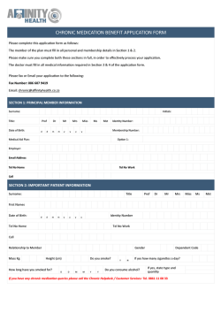 Chronic Medication Application Form