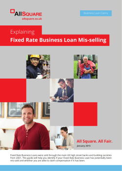 Explaining Fixed Rate Business Loan Mis-selling