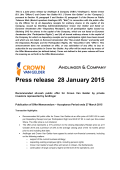 Recommended all-cash public offer for Crown Van Gelder by