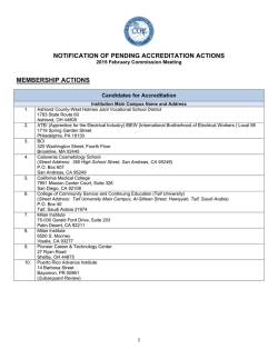 February 2015 - Notification of Pending Actions