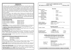 LIMAVADY PARISH BULLETIN 4th Sunday in Ordinary Time 1