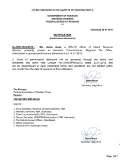 NOTIFICATION No.0231-IR-V/2015:- Ms. Aisha Asad, a (BS-17
