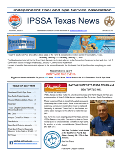 January 2015 - Independent Pool and Spa Service Association