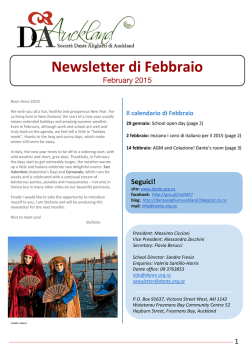 Newsletter di Febbraio - Dante Alighieri Italian Society in New Zealand