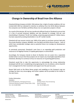 Change in Ownership of Brazil Iron Ore Alliance