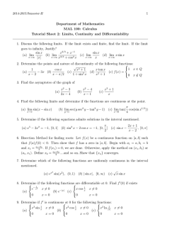 1 Department of Mathematics MAL 100: Calculus Tutorial Sheet 2