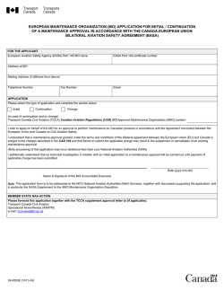 european maintenance organization (mo) application for initial
